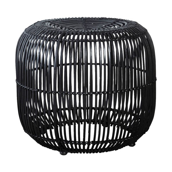 House Doctor Hocker Rattan Ø52x46cm - schwarz